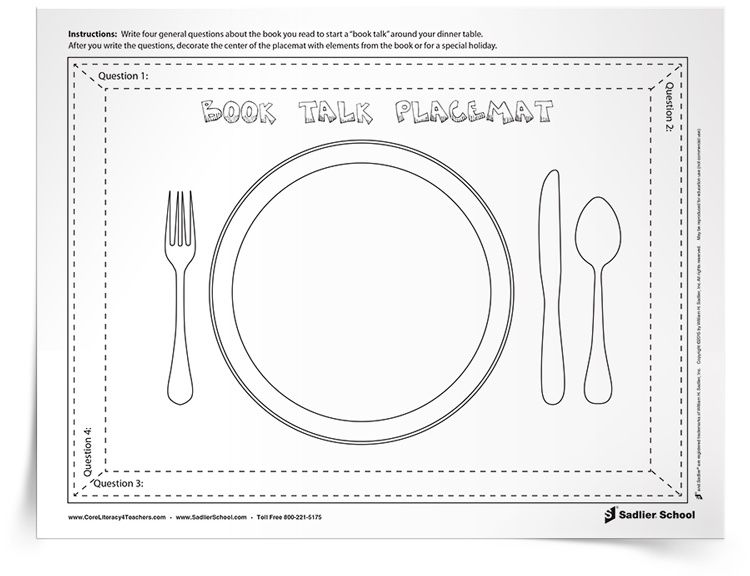 The Book Talk Placemat Is An Interactive Book Discussion
