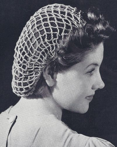 Vintage Crochet Snood Hairnet hair net fishnet Pattern BeachSnood ...