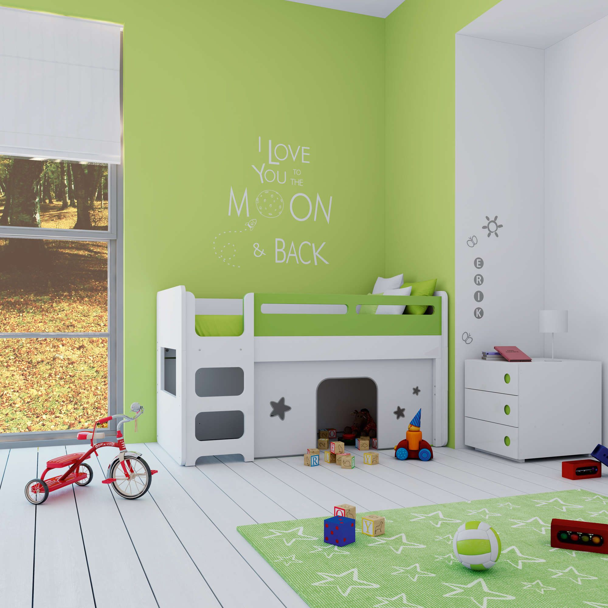 Cunas convertibles de dise o para beb s convertida en - Habitaciones infantiles verdes ...