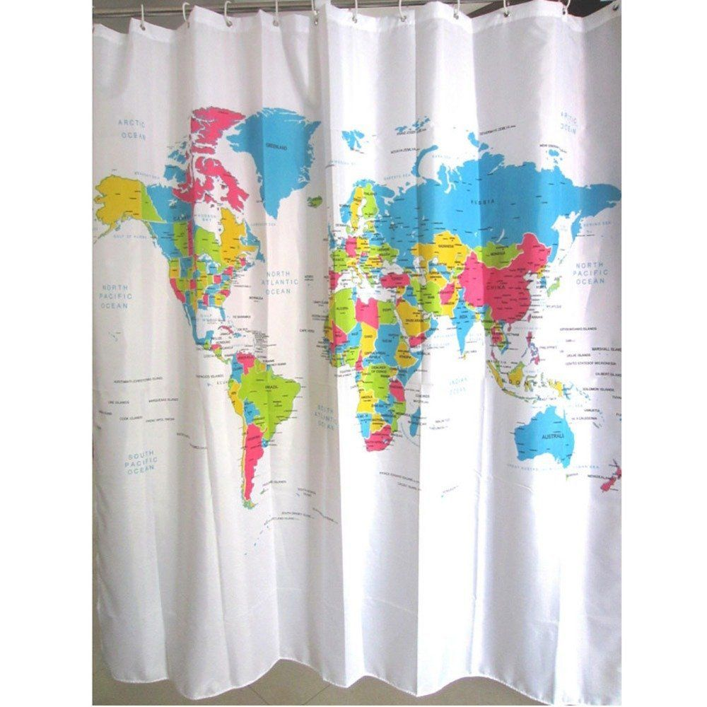 180 Cm X 180 Cm Stylish World Map Bad White Plastic Shower Curtain With 12 C Type Hook Bath Products Specification Materials 100 Polyester Fabric Pattern