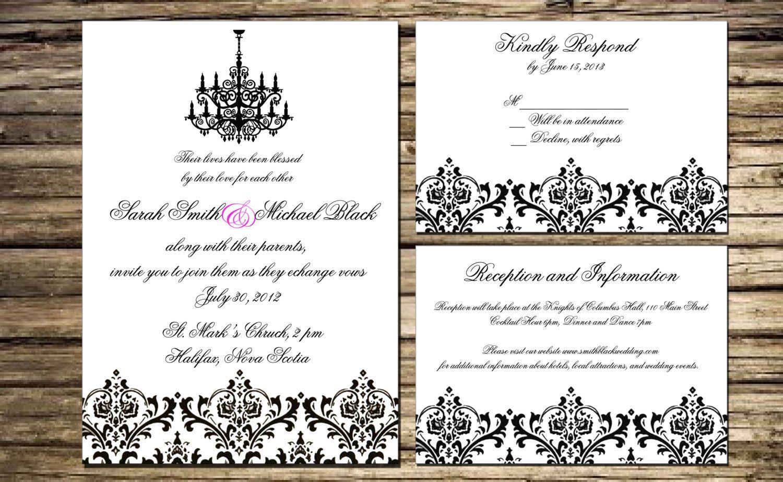 Customized Damask Wedding Invitations. Affordable Printable DIY ...