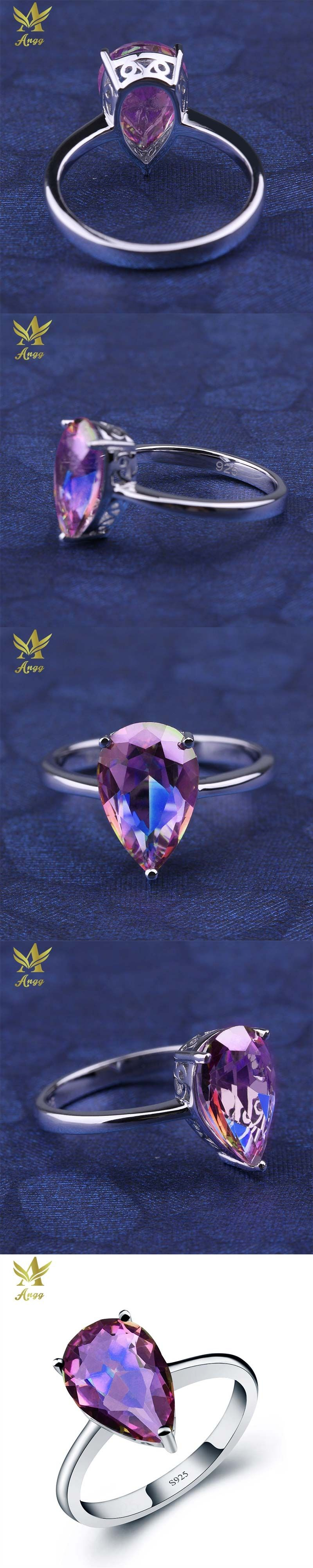 sterling engagement natural hot women mystic rings wedding for emerald topaz genuine fire rainbow silver ring cut