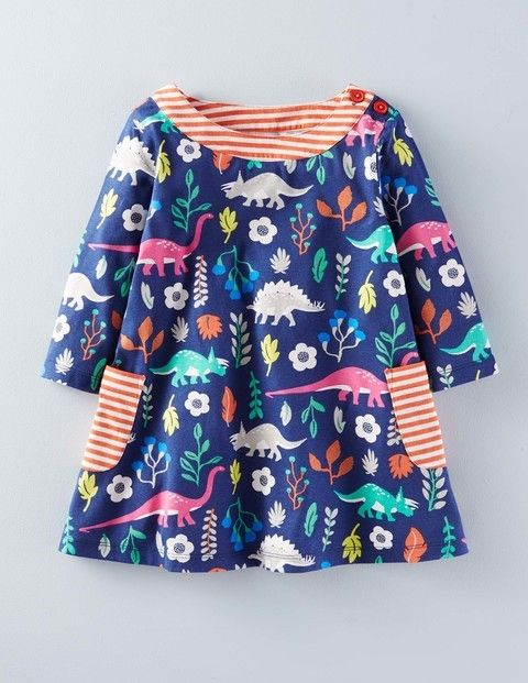 5c461223243b Mini Boden Printed Jersey Tunic in Imperial Blue Florasaurus ...