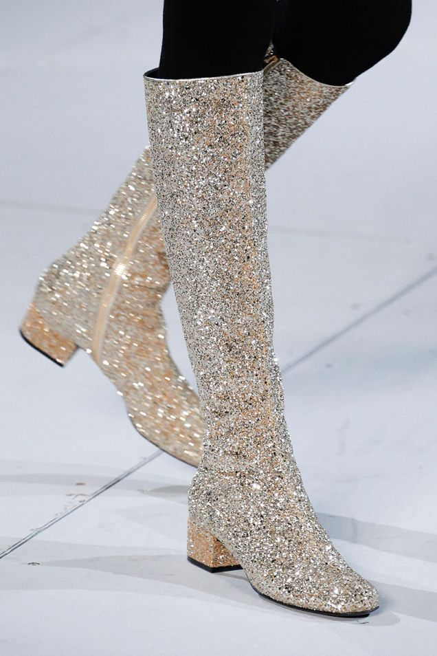 b9a909d4b0e7 Go-go boots at Saint Laurent. Mega confidence required to pull this level  of sparkle off