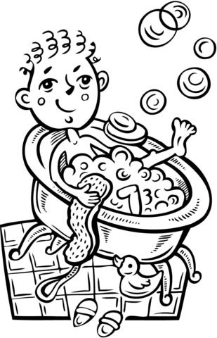 Boy Taking A Bubble Bath Coloring Page