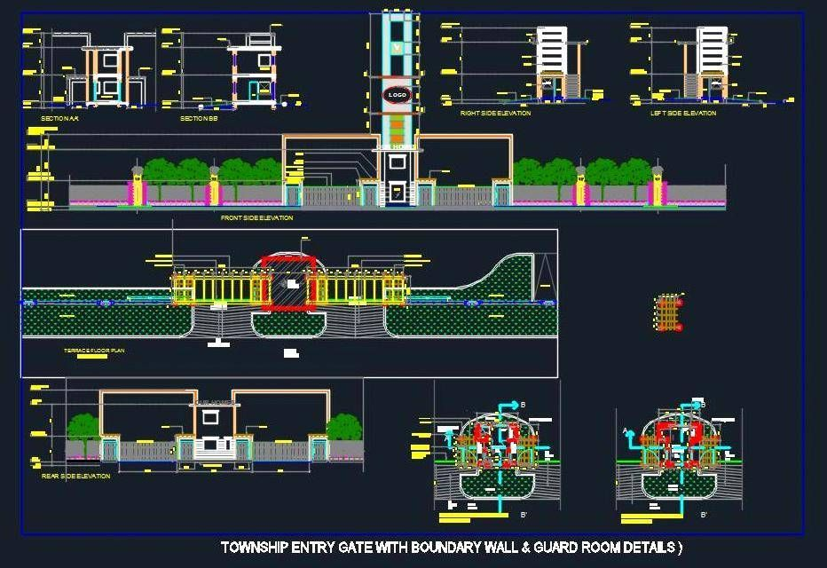 Autocad #drawing of #Township entry gate has been detailed