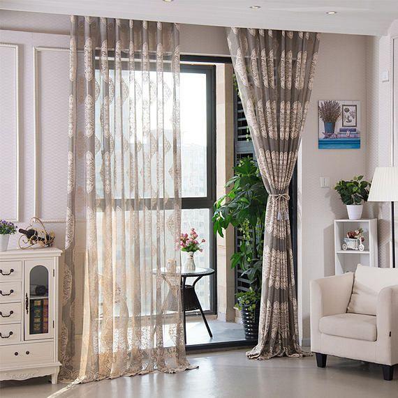 Grey European Style Embroidery Sheer Curtain Fabric Cream Etsy