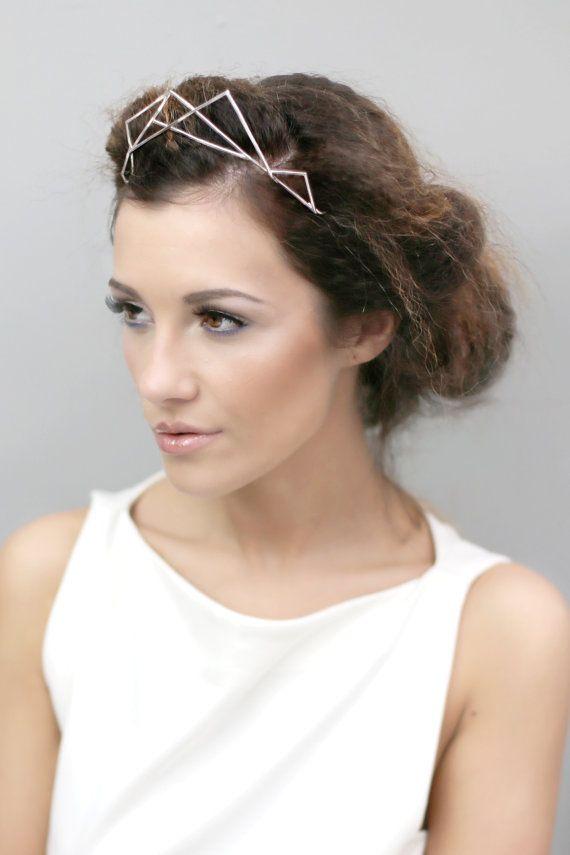 Geometric Silver Crown Tiara, Bridal Accessory, Modern Designer Tiara Headband - Riia