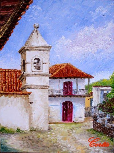 Torre del Reloj por Hector Cortes - Pintor y fotografo hondureño. Pinturas al oleo con espatula de Yuscarán, Tegucigalpa y Honduras.