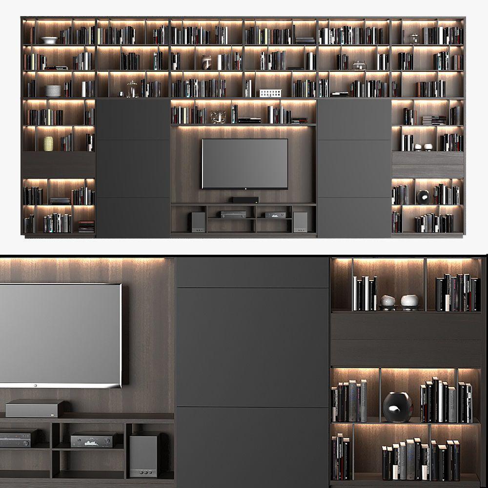 inspiration wall unit luxury deluxe living room   Poliform DS2   3D model in 2020   Interior design living ...