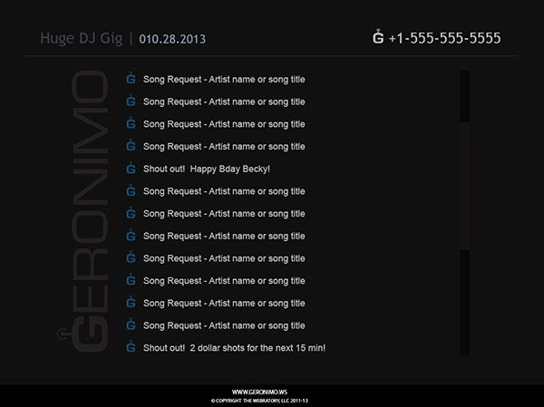 Create Your Own Request Line No Need To Shout Over Your Music To Be Heard Or For Club Goers To Fight Through The Crowd Song Request G Song Promotional Events