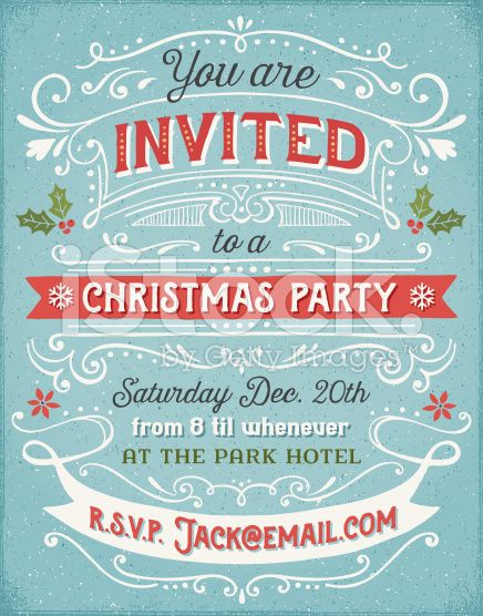 Hand drawn holiday party invitation with swirls banners and stock vector of hand drawn christmas party invitation vector art by mxtama from the collection istock get affordable vector art at thinkstock stopboris Gallery