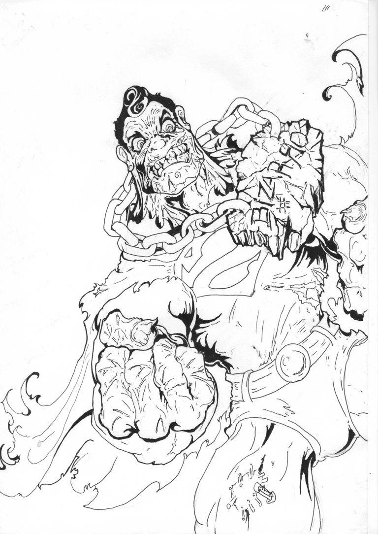 Classic Superman Villain Bizarro Freehand Illustration By Tattoo Artist Mikey B Dc Comics Drawing Illustration Art Artist