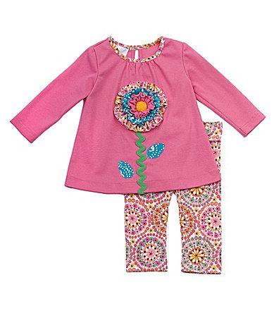 Rare Editions Infant FlowerAppliqued Dress and Leggings Set #Dillards