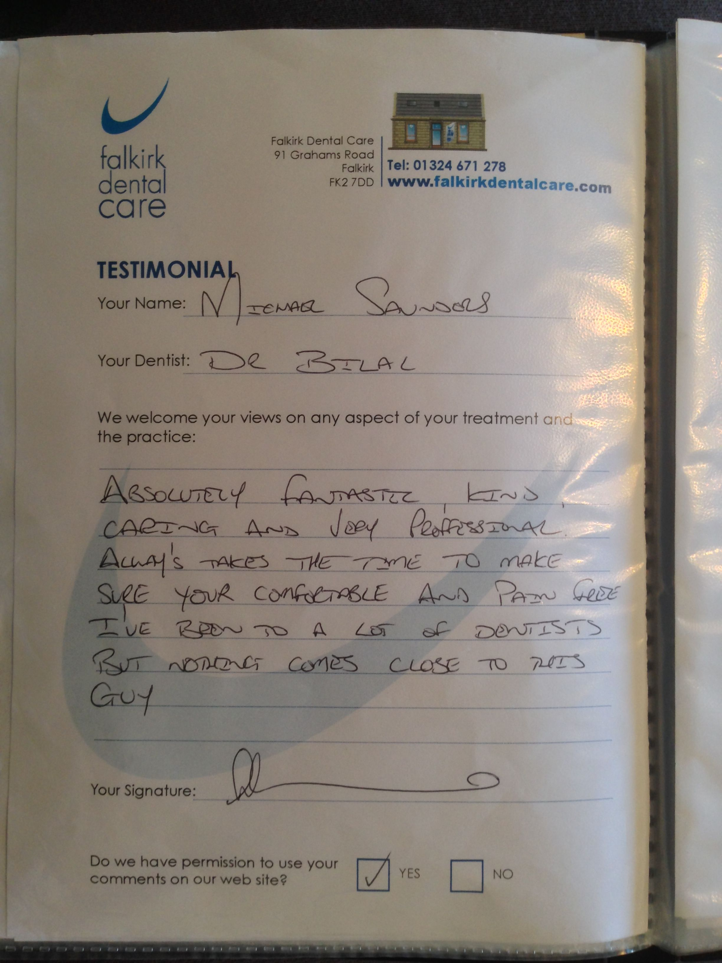 Michael provides a glowing testimonial for Dr Bilal 'nothing comes close to this guy' #bestdentistfalkirk