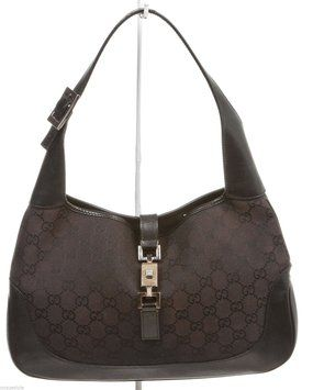 748ef7208b5 Jackie Monogram O Handbag Black Canvas Hobo Bag