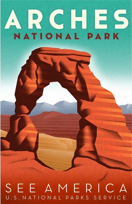 Arches National Park Vintage Nps Poster Vintage National Park Posters National Park Posters National Parks