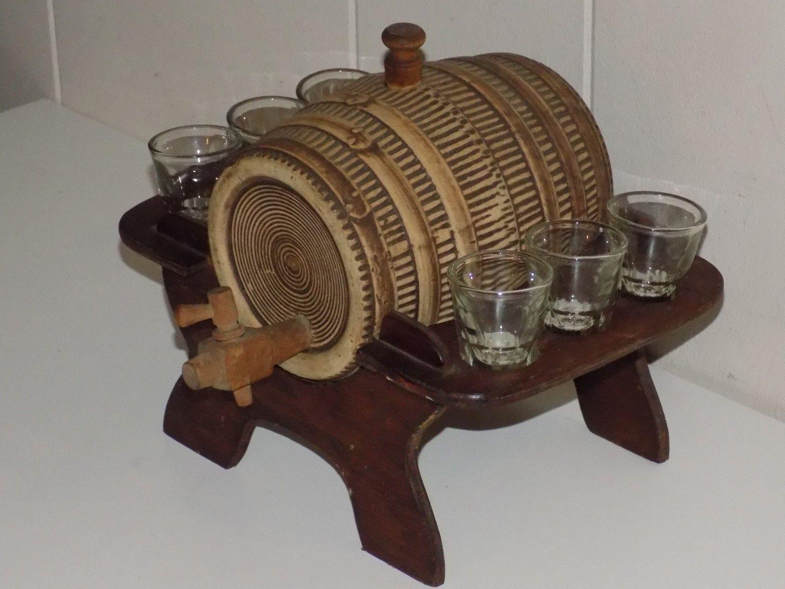 0a6f00df82 Ceramic Keg Whiskey Barrel Wooden Stand 6 Shotglasses