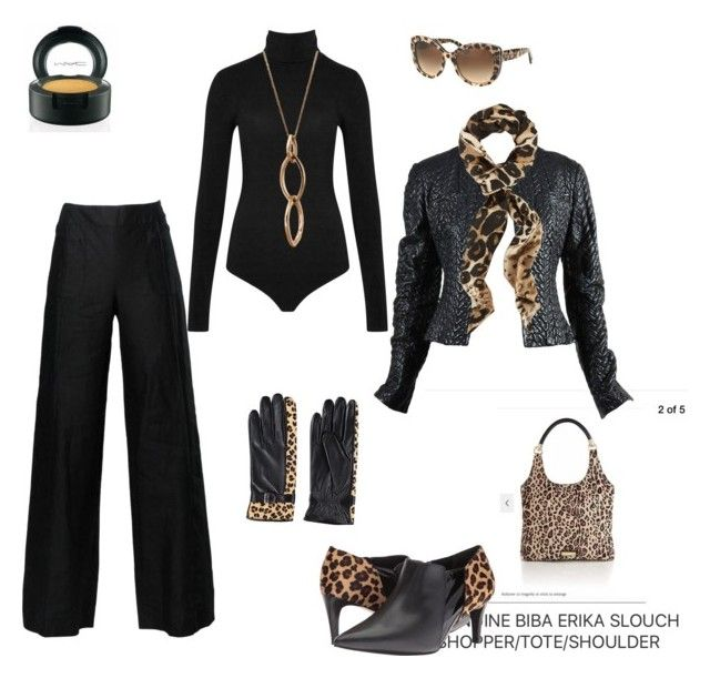 """""""Leopard and black wide leg trouser"""" by fluffybnnii on Polyvore featuring Chanel, Wolford, Walking Cradles, Edge Only and Dolce&Gabbana"""