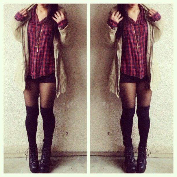 Plaid, cardigan and leggings