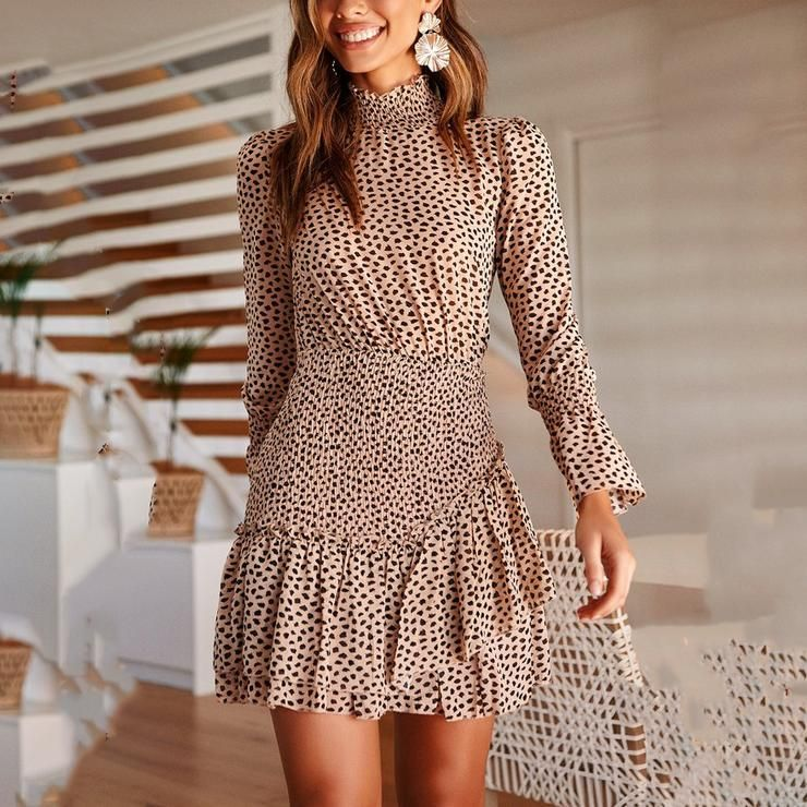 2019 Long Sleeve Leopard Print Mini Dress Anglered em