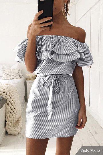 84f372fd6914 Black Off Shoulder Stripe Pattern Flouncy Details Dress