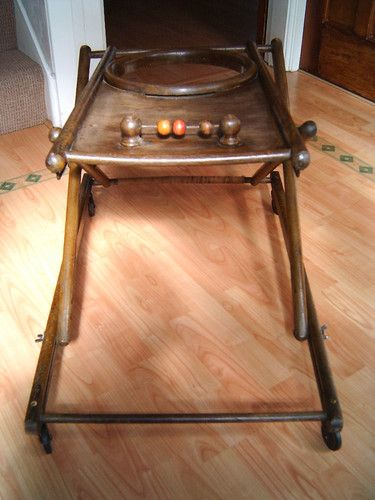 Antique French Wooden Baby Walker On