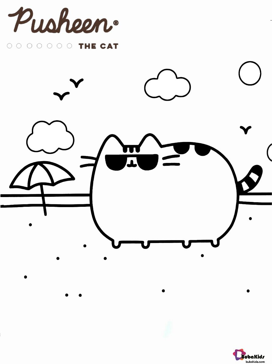 Pusheen The Cat At Beach Coloring Page Collection Of Cartoon Coloring Pages For Teenage Printable T Beach Coloring Pages Cartoon Coloring Pages Coloring Pages