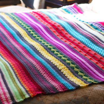 Free Crochet Pattern Colourful Rainbow Sampler Blanket Crochet