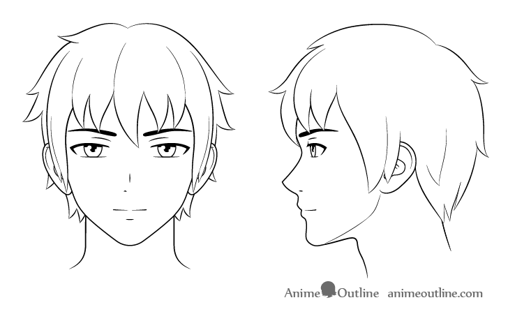 How To Draw Anime And Manga Male Head And Face Animeoutline In 2020 Anime Head Anime Male Face Anime Drawings