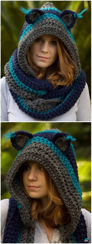 Crochet Adult Cat Scoodie Paid Pattern - Crochet Hoodie Scarf ...