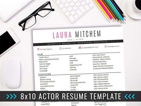 Actor Resume Template   8 x 10 Acting Resume   Instant Digital - acting resume
