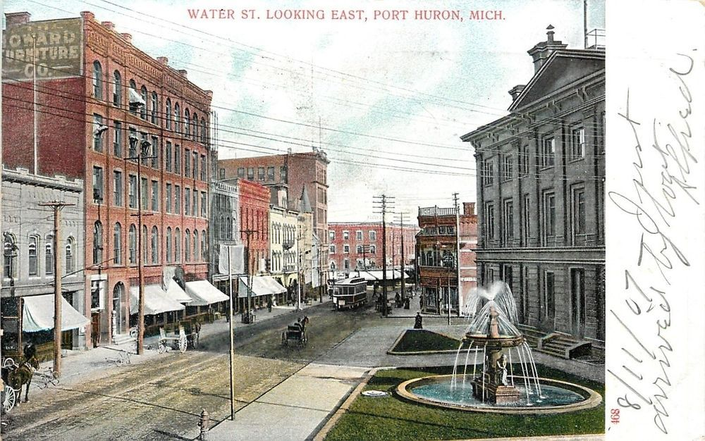 Port Huron MI Thinker Under Fountain Across From Howard Furniture Store ~c1906