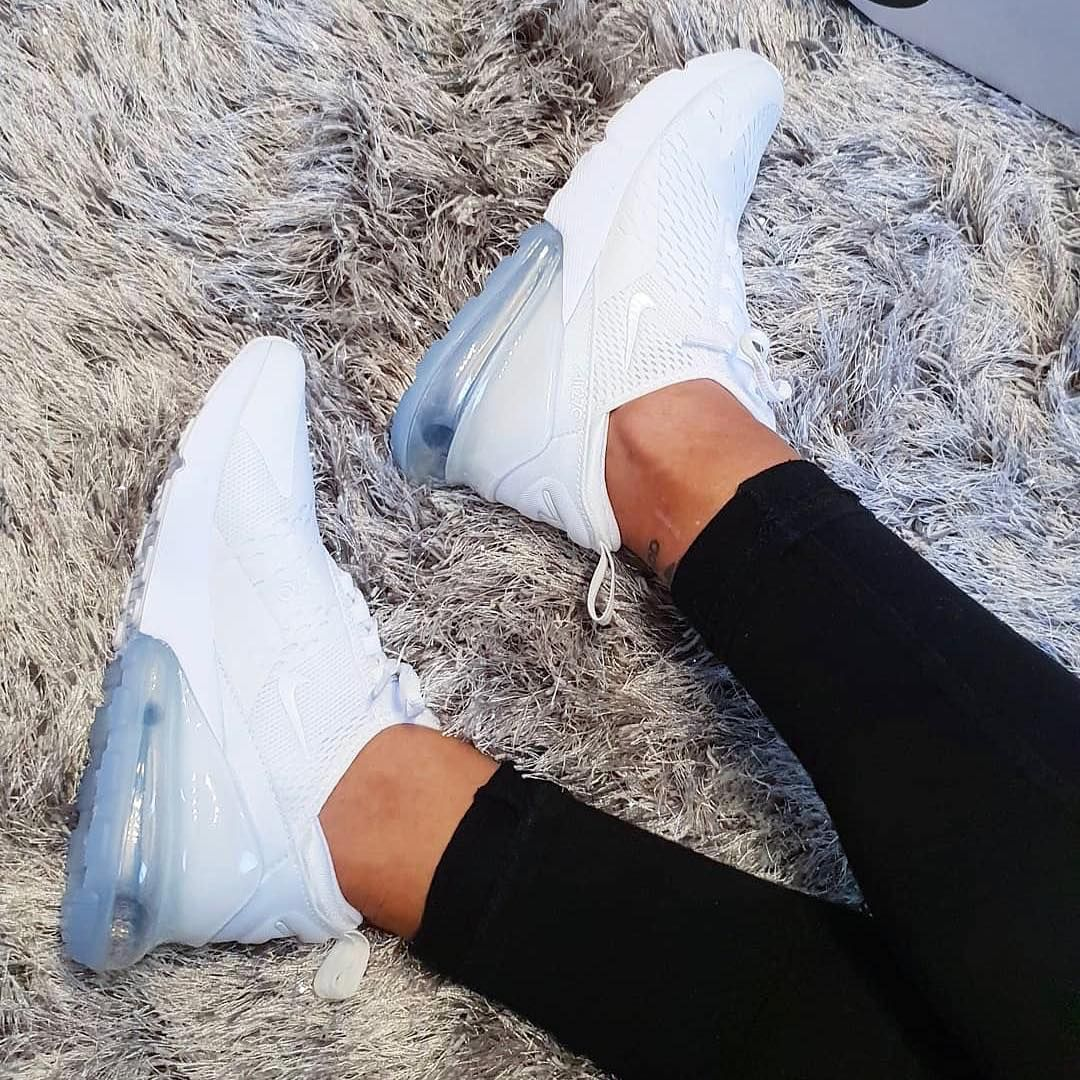 outlet store d1bf5 f76ec Ultra clean and super fresh, here we have a closer look at the new Nike Air  Max 270 Triple White Women s Shoe in an all white colour way.