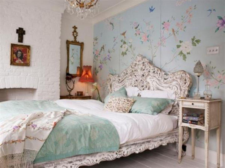 Good Stunning Vintage Bedroom Ideas: Modern Wallpaper Design Idea In Blue For  Vintage Bedroom Ideas Used Floral Decor And Classic Bed Frame Furniture For  ...