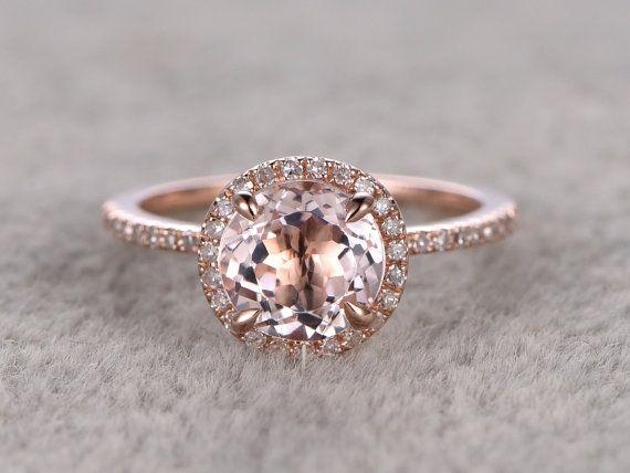 7mm Morganite bague de fiançailles en or Rose, diamant Alliance, 14k, rond  coupe, Pierre anneau de promesse nuptiale, dents de la griffe, Pave  ensemble, ... 3d7ee3b8ec56