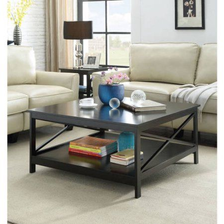 Convenience Concepts Oxford 36 Inch Square Coffee Table Multiple Finishes Black Traditional Coffee Table Coffee Table Square