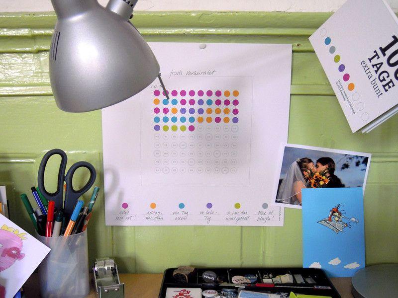 Gastgeschenke - 100 Tage frisch verheiratet – ein Klebe-Doku-Bild - ein Designerstück von sperlingB bei DaWanda