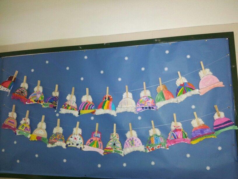 Mi mural de invierno gorritos murals hivern pinterest - Mural navidad infantil ...