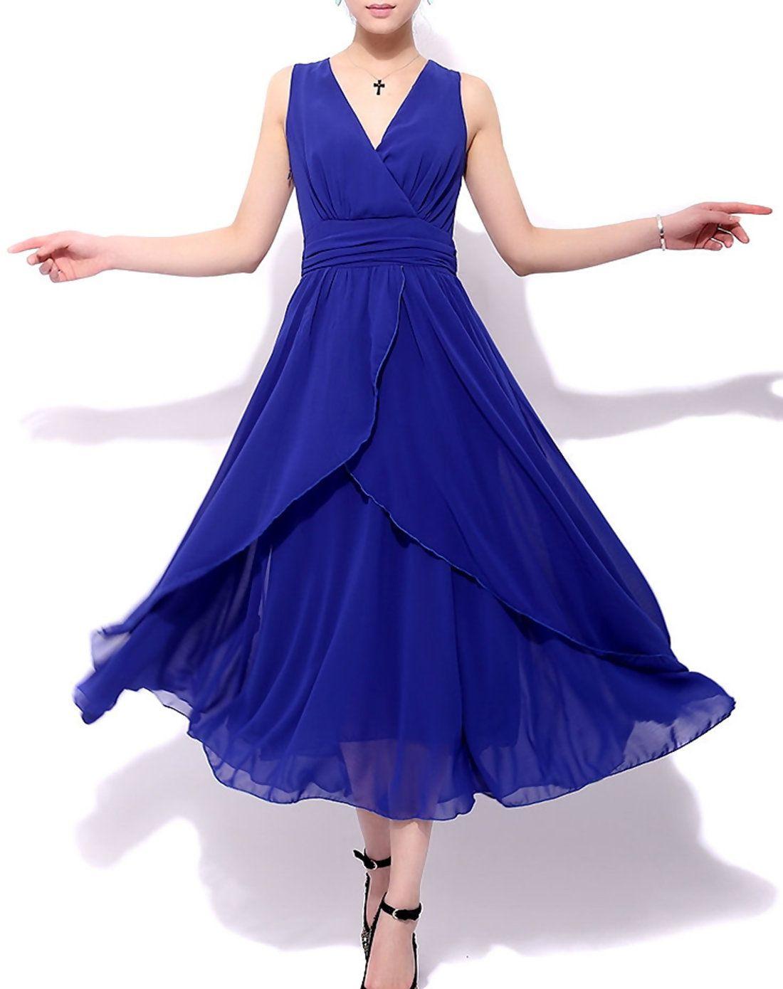 Adorewe vipme skater dresses hzy tempting blue chiffon sleeveless
