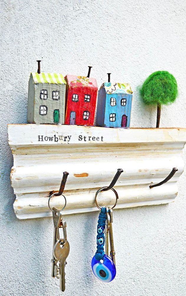 Super sweet use of old wood, a wall key holder, …