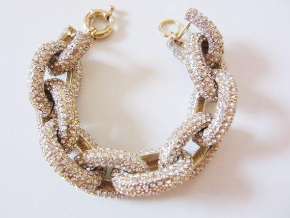 Gold Crystal Pave Link Bracelet By Yunikelley On Etsy