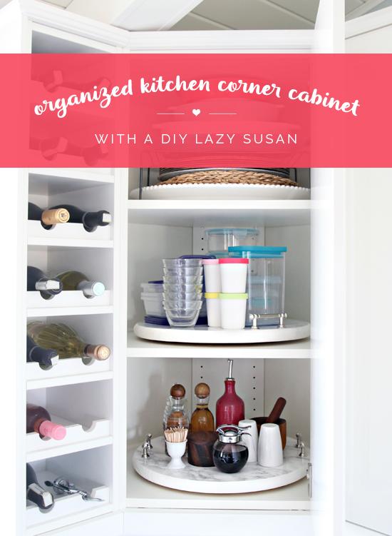 Organized Kitchen Corner Cabinet With A Diy Lazy Susan Organize My
