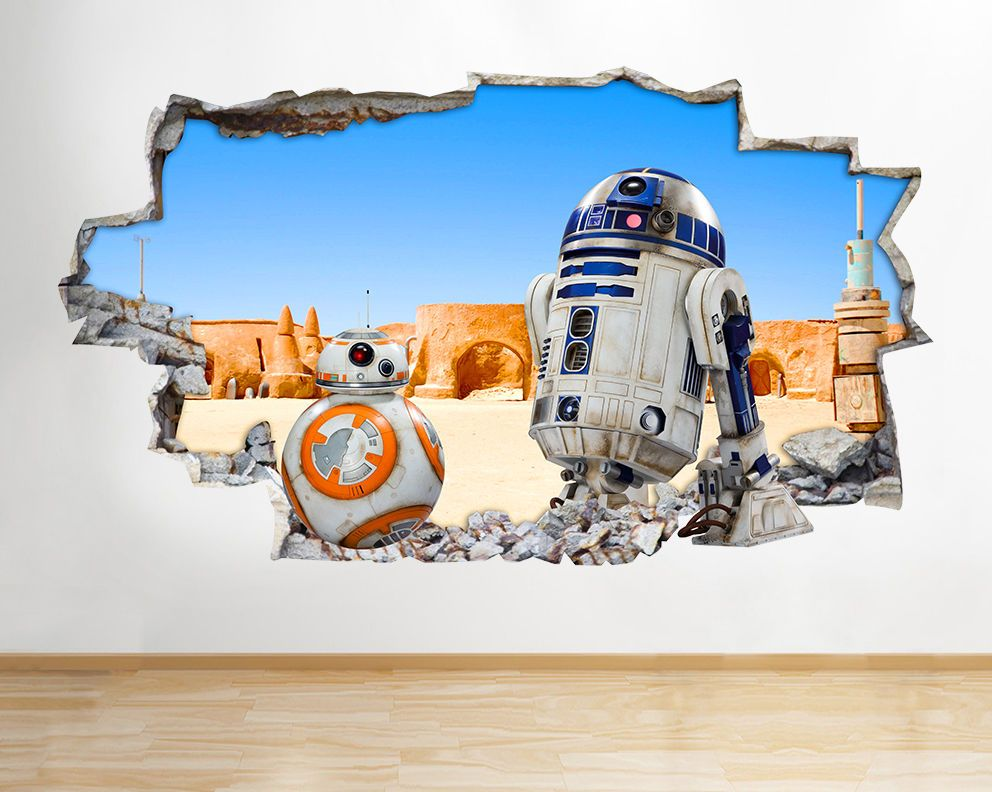 H120 R2d2 Bb8 Starwars Film Smashed Wall Decal Poster 3d Art