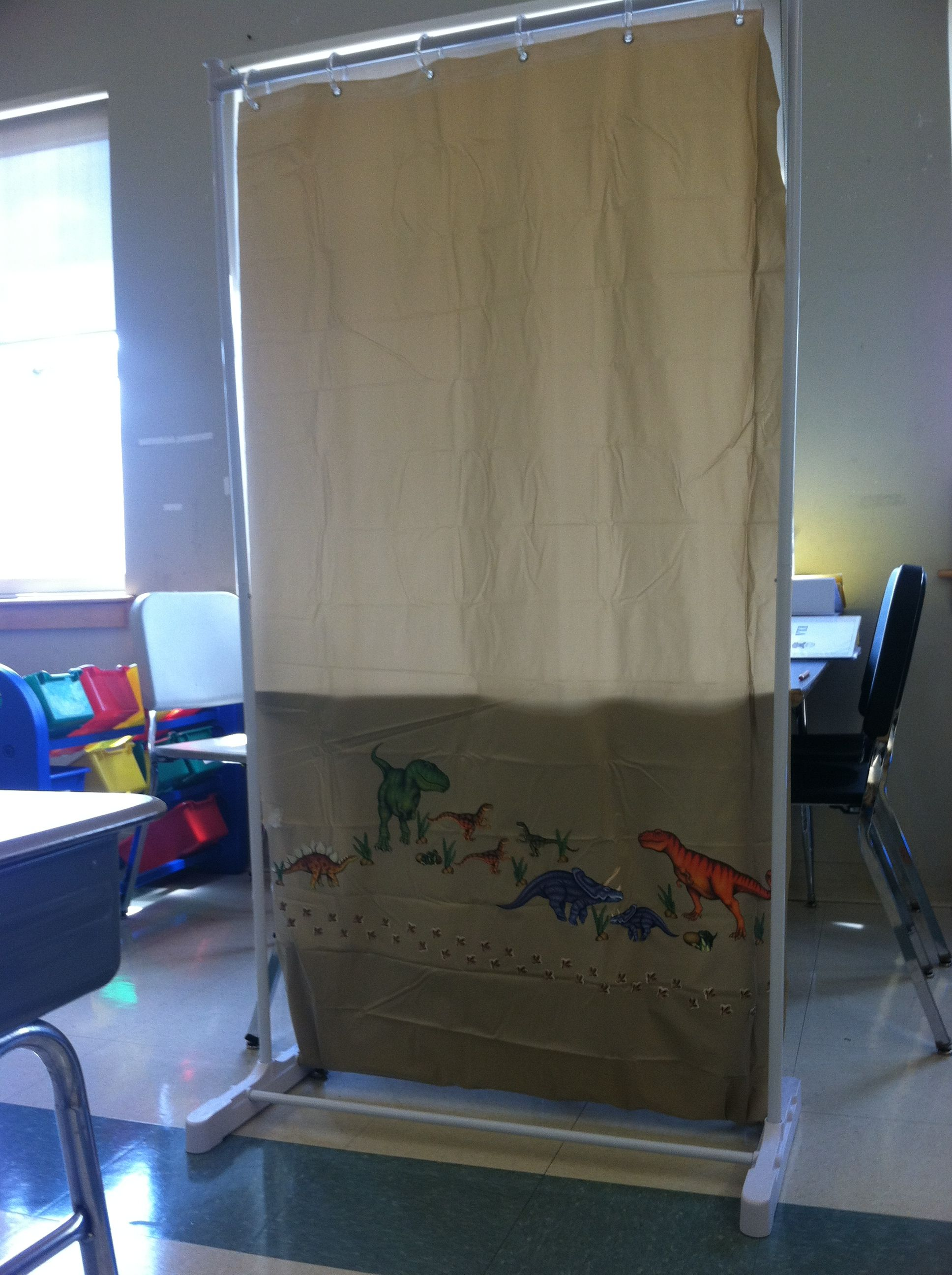 Make Your Own Classroom Divider Who Would Of Thought All You Need Is A Garment Rack Shower Curtain Classroom