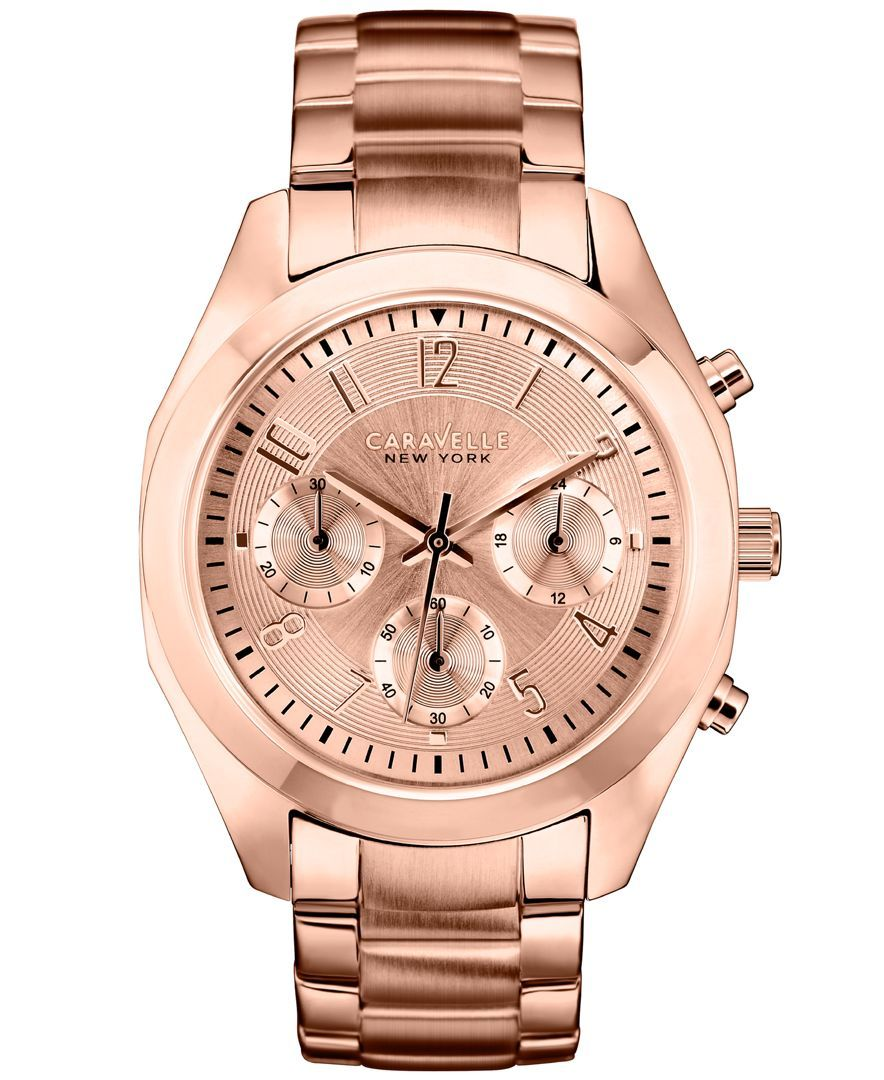 c63021db6d4 Caravelle New York by Bulova Women s Chronograph Rose Gold-Tone Stainless  Steel Bracelet Watch 36mm 44L115