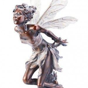 Superior Bronze Kissing Fairy Garden Statue