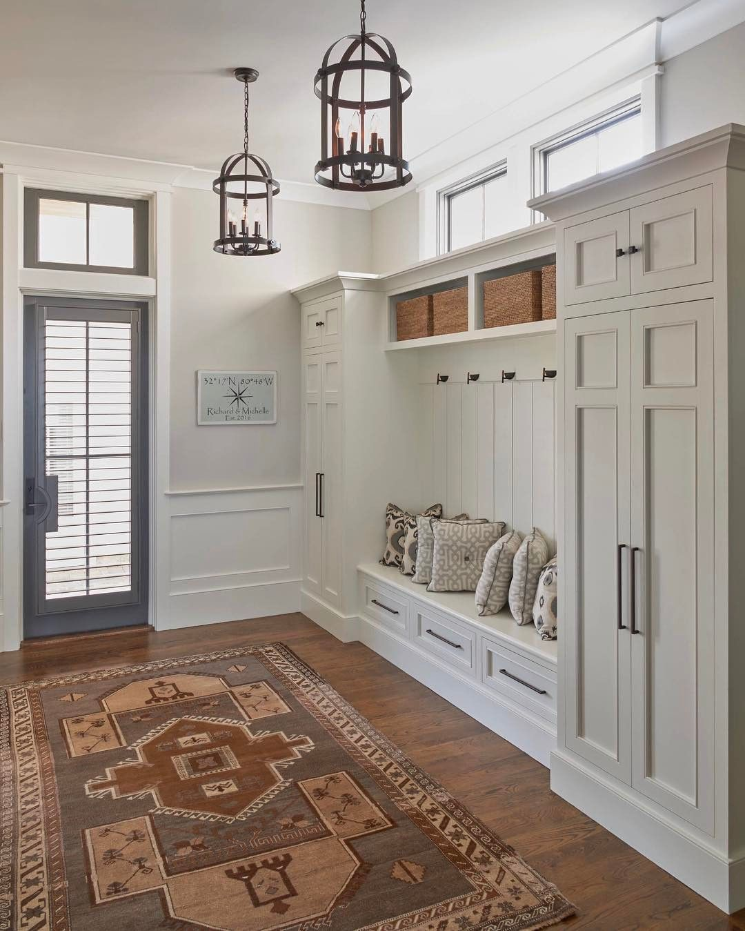 This entryway only with cubbies below bench for shoe for Mudroom layout
