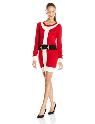 Blizzard Bay Juniors' Christmas Naughty Santa Suit Tunic Sweater ...