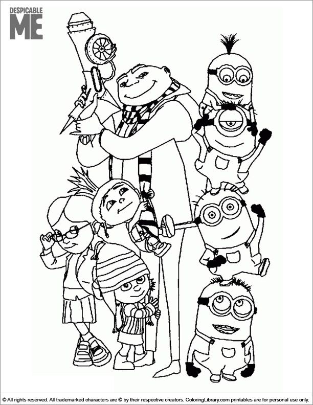 Despicable Me Coloring Book Printable Minion Coloring Pages Minions Coloring Pages Family Coloring Pages